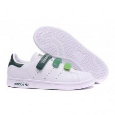 Кроссовки Adidas Raf Simons Stan Smith Белые с зелеными липучками