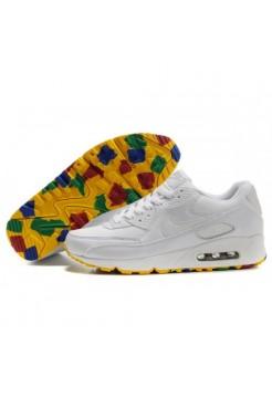 Кроссовки Nike Air Max 90 Белые с цветной подошвой