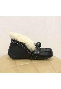 Мокасины UGG Australia Alena black Leather заклепки