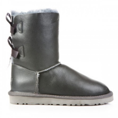 UGG Bailey Bow Leather Gray