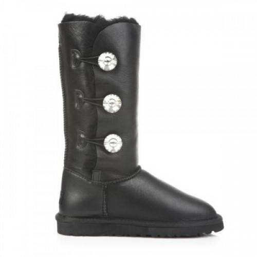 UGG Bailey Button Triplet Bling Leather Black