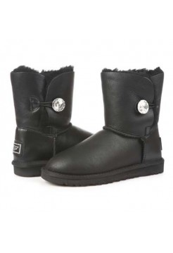 UGG Bailey Button I DO Leather Bling Black