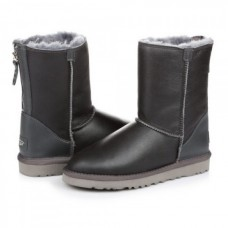 UGG Classic Short Zip Замок Leather Gray