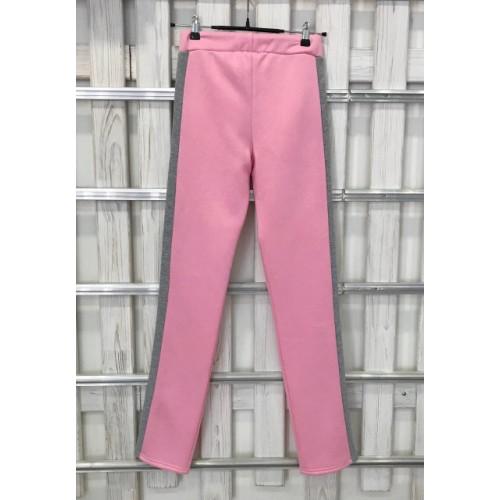 Теплые брюки UGG Australia, бледно-розовые с серыми лампасами