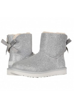 UGG Mini Bailey Bow Sparkle Silver