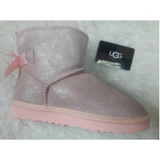 Угги из шерсти Mini Bailey Bow Metallic Pink