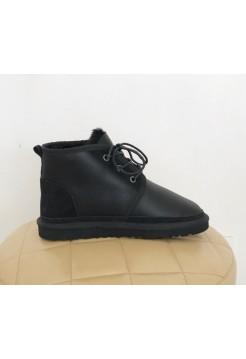 UGG Neumel Leather Black замшевая пятка