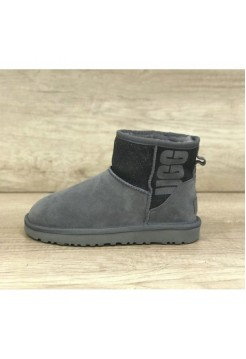 UGG Classic Mini Sparkle Rubber Boot Gray