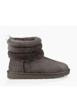 UGG Classic Mini Fluff Quilted Logo Charcoal