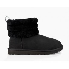 UGG Classic Mini Fluff Quilted Logo Black