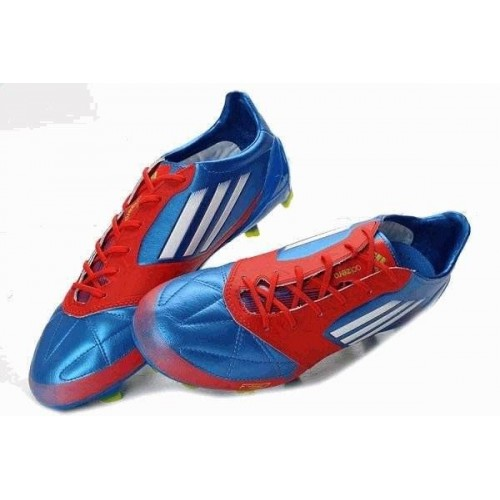 Кроссовки Adidas F50 Adizero miCoach Leather FG [Blue/Red]