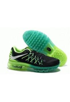 Кроссовки Nike Air Max 2015 Черно-салатовые (М512)