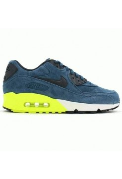 Кроссовки Nike Air Max 90 Premium Blue Anthracite Yellow White (О-624)