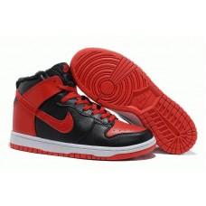 Кроссовки Nike Dunk High с мехом Черно/красные (О-231)