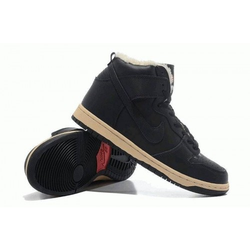 Кроссовки Nike Dunk High с мехом Черные (О-321)
