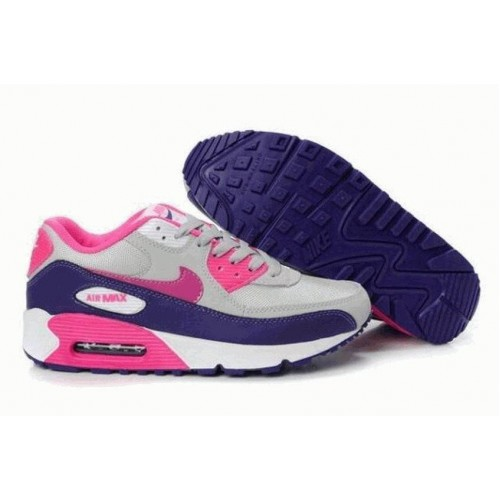 Кроссовки Nike Air Max 90 Серо/розовые (ОА327)