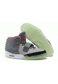 Кроссовки Nike Air Yeezy 2 Grey Green Orange (О-242)