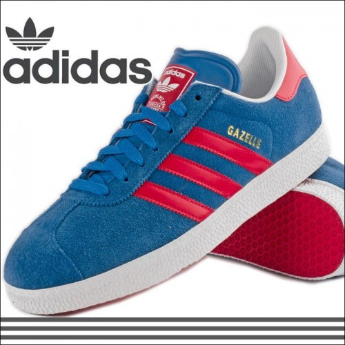 Кроссовки Adidas Gazelle Blue/Red (M-524)