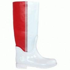 Комбинированные резиновые сапоги 4696-1-03 красн-бел кож-зам
