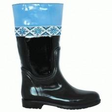 Комбинированные резиновые сапоги 4699-1-05 син-чер кож-зам