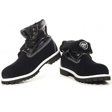Ботинки Timberland Roll Top Black White Boots с мехом (О531)