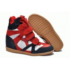 Зимние кроссовки Isabel Marant Sneakers Blue White Red Winter (С МЕХОМ)