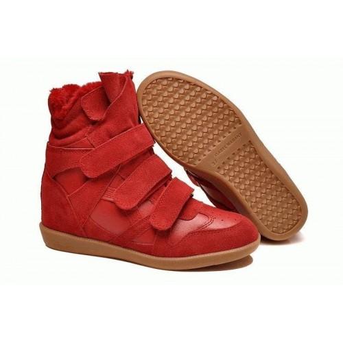 Зимние кроссовки Isabel Marant Sneakers Red Winter (С МЕХОМ)