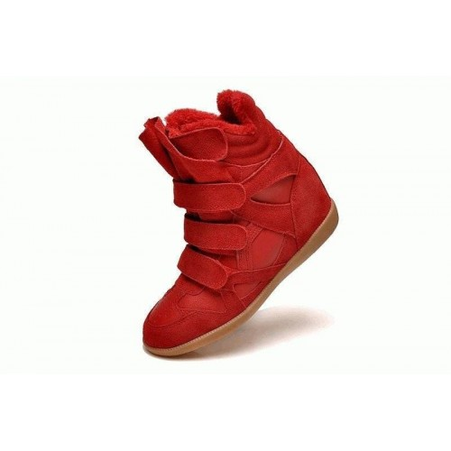Зимние кроссовки Isabel Marant Sneakers Red Winter (С МЕХОМ)