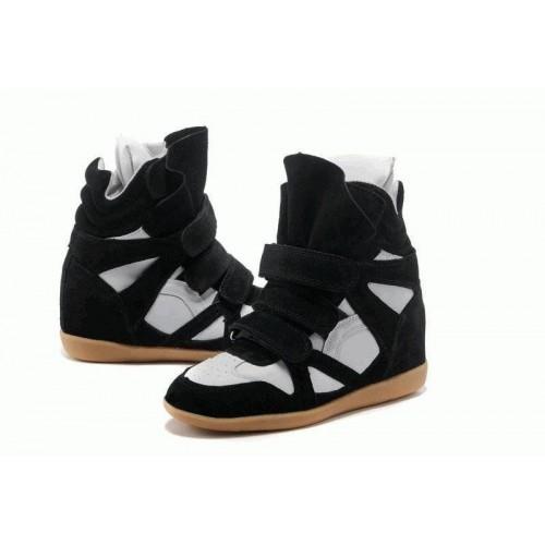 Зимние кроссовки Isabel Marant Sneakers White Black Winter (С МЕХОМ)