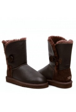 UGG Bailey Button Chocolate Кожа