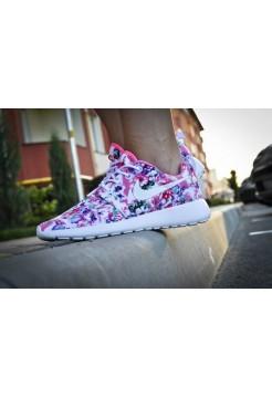 Кроссовки Nike Roshe Run Цветы розовый (V-421)