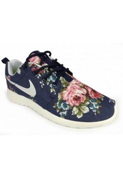 Кроссовки Nike Roshe Run Цветы синий (V-423)
