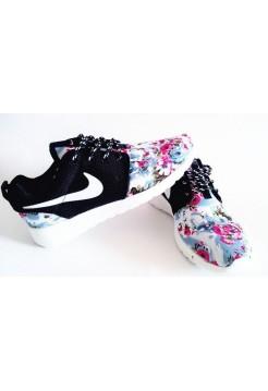 Кроссовки Nike Roshe Run Цветы черный (V-443)