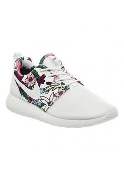 Кроссовки Nike Roshe Run Белые цветы (V-143)