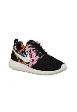 Кроссовки Nike Roshe Run Черный цветы (V-142)