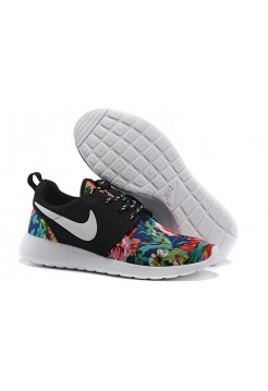 Кроссовки Nike Roshe Run Black цветы (V-142)