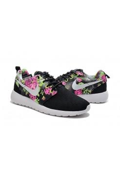 Кроссовки Nike Roshe Run Black розы (V-141)