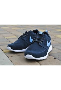 Nike Roshe Run Woven Suede Синие II (V-323)
