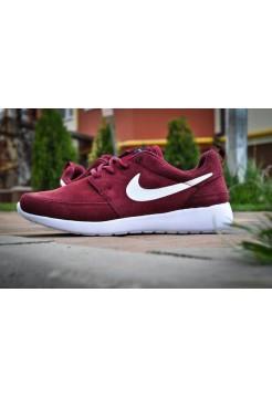 Nike Roshe Run Woven Suede Красные II (V-322)