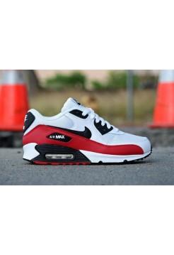Кроссовки Nike Air Max 90 Бело-красные (V-125)