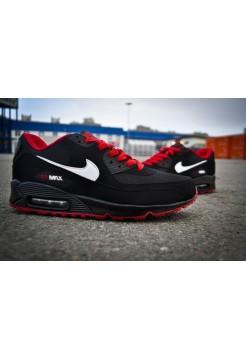 Кроссовки Nike Air Max 90 Черно-красные (V-127)