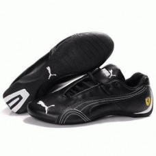 Кроссовки Puma Ferrari Low All Black White Strap (О471)