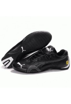 Кроссовки Puma Ferrari Low All Black White Strap (О471)