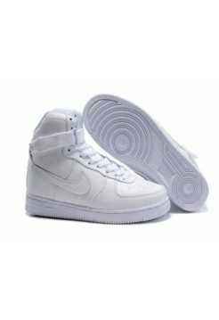 Кроссовки Nike Air Force High All White С мехом (W218)