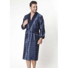 Мужской шелковый халат Nusa ns 8015 синий