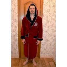 Мужской халат велюровый Nusa ns 7160 бордовый