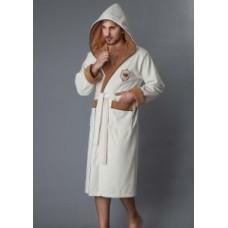 Мужской халат велюровый Nusa ns 2820 белый