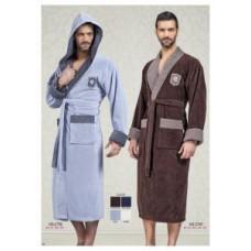 Мужской халат велюровый Nusa ns 2745 синий