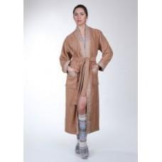 Женский халат махровый Mariposa Темно-бежевый кант: Серебро