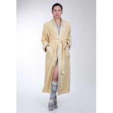 Женский халат махровый Mariposa Горчица кант: Серебро